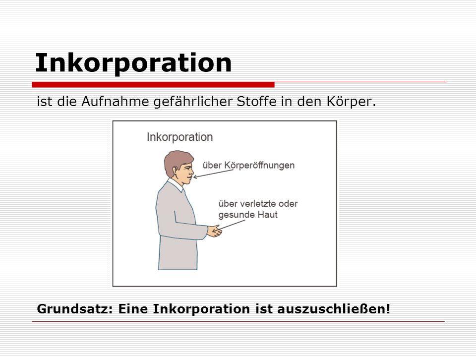 Inkorporation ist die Aufnahme gefährlicher Stoffe in den Körper.