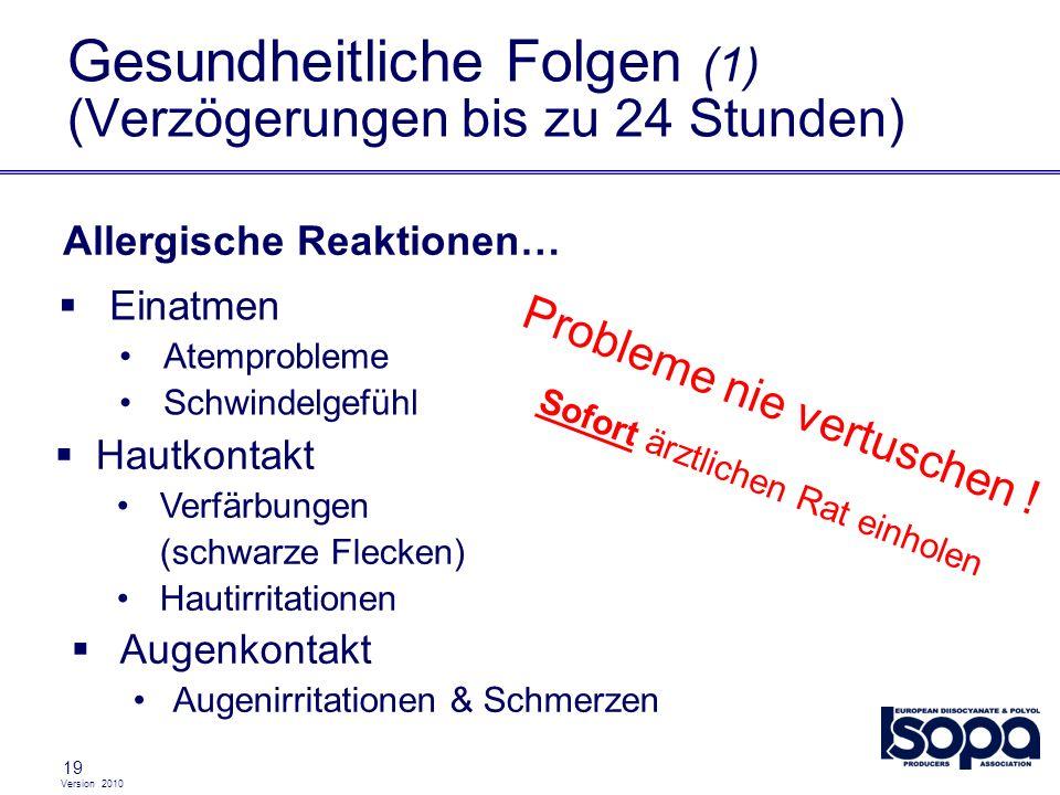 Gesundheitliche Folgen (1) (Verzögerungen bis zu 24 Stunden)