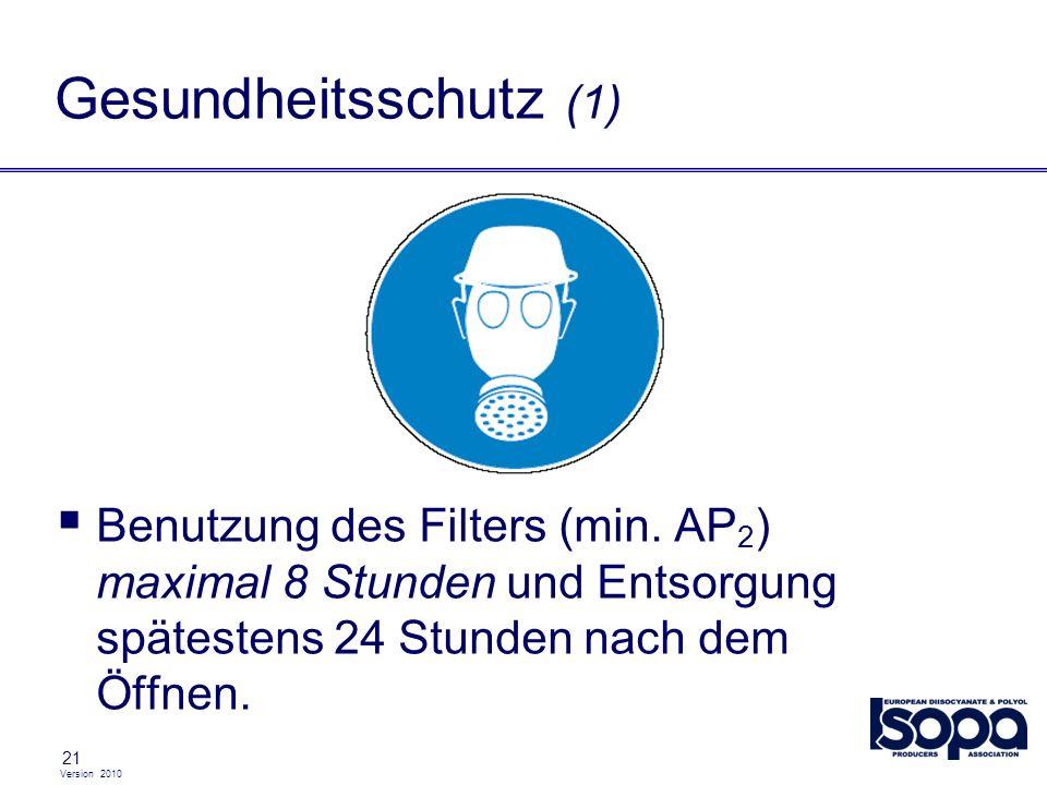 Gesundheitsschutz (1)Benutzung des Filters (min. AP2) maximal 8 Stunden und Entsorgung spätestens 24 Stunden nach dem Öffnen.