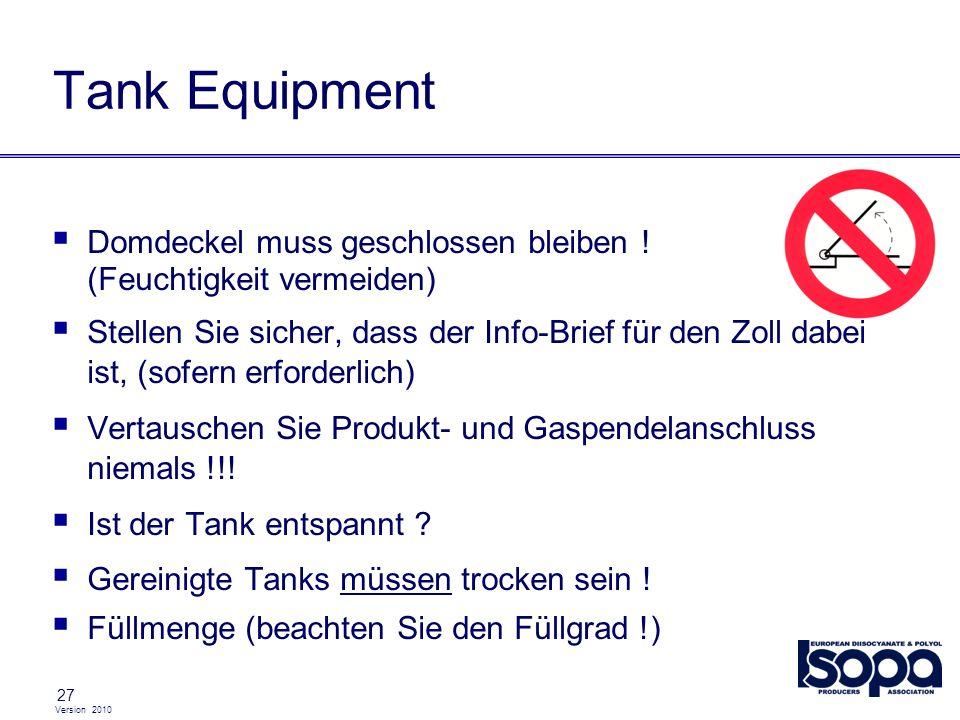 Tank EquipmentDomdeckel muss geschlossen bleiben ! (Feuchtigkeit vermeiden)