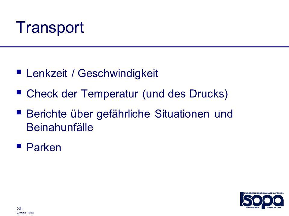 Transport Lenkzeit / Geschwindigkeit
