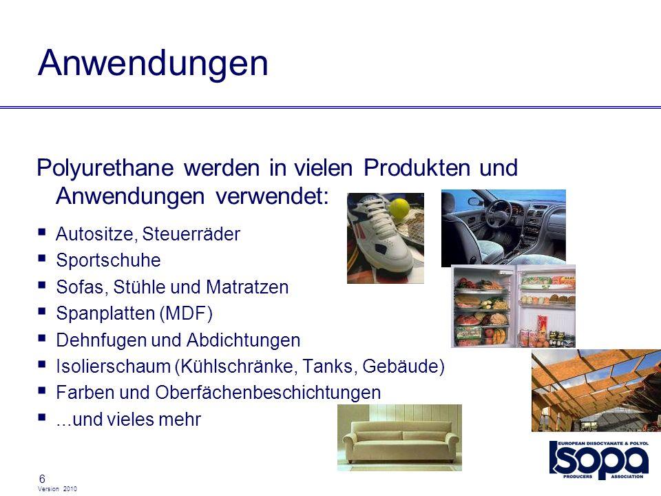 AnwendungenPolyurethane werden in vielen Produkten und Anwendungen verwendet: Autositze, Steuerräder.