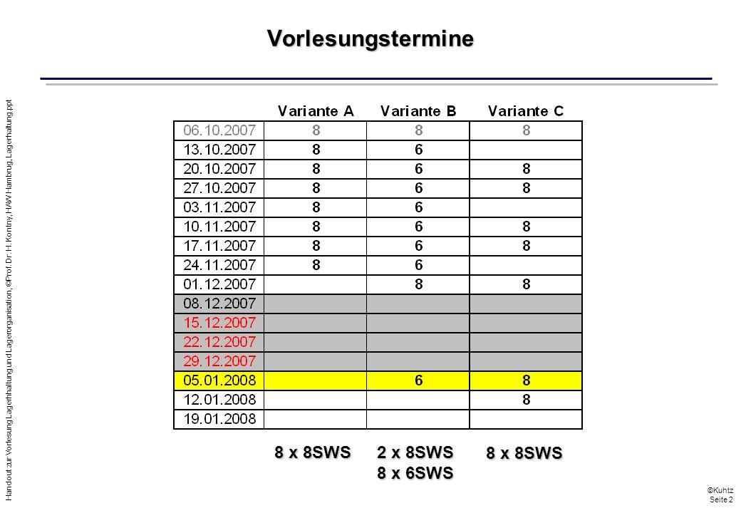Vorlesungstermine 8 x 8SWS 2 x 8SWS 8 x 6SWS 8 x 8SWS