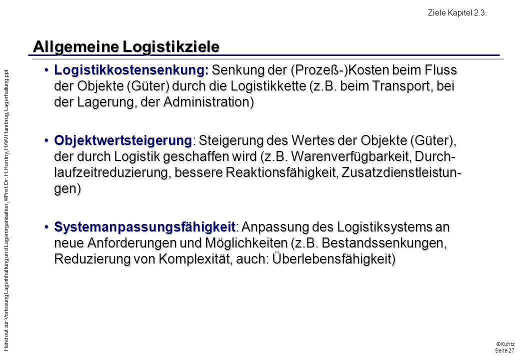 Allgemeine Logistikziele
