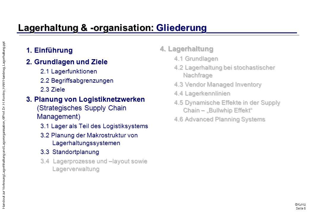 Lagerhaltung & -organisation: Gliederung