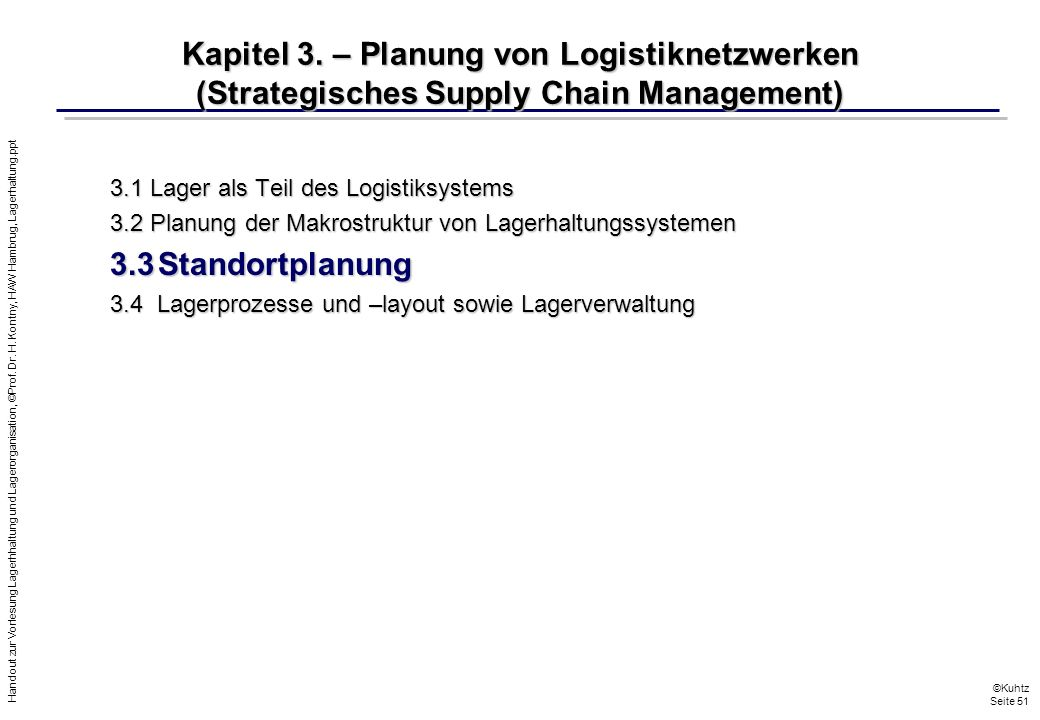 Kapitel 3. – Planung von Logistiknetzwerken (Strategisches Supply Chain Management)