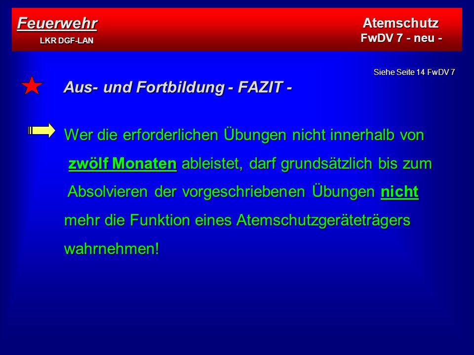 Aus- und Fortbildung - FAZIT -