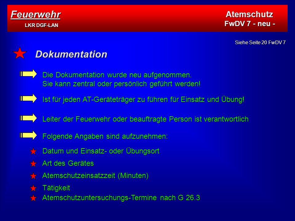 Feuerwehr LKR DGF-LAN Dokumentation Atemschutz FwDV 7 - neu -