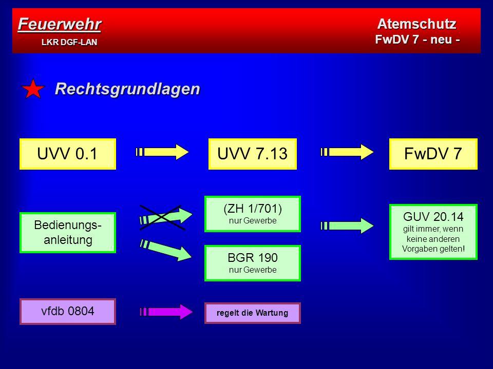 Feuerwehr LKR DGF-LAN Rechtsgrundlagen UVV 0.1 UVV 7.13 FwDV 7