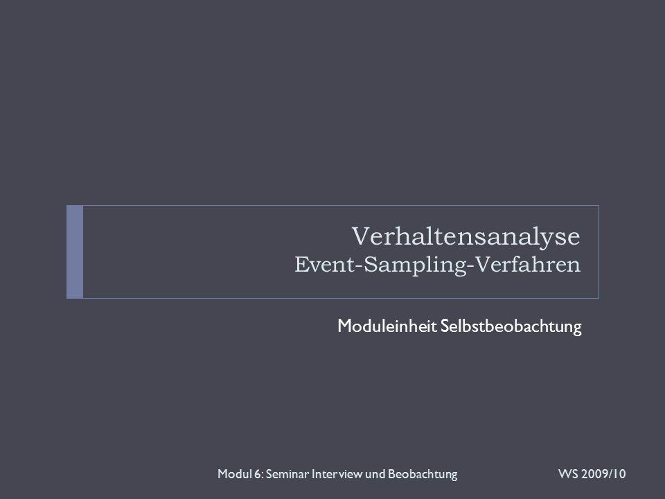 Verhaltensanalyse Event-Sampling-Verfahren