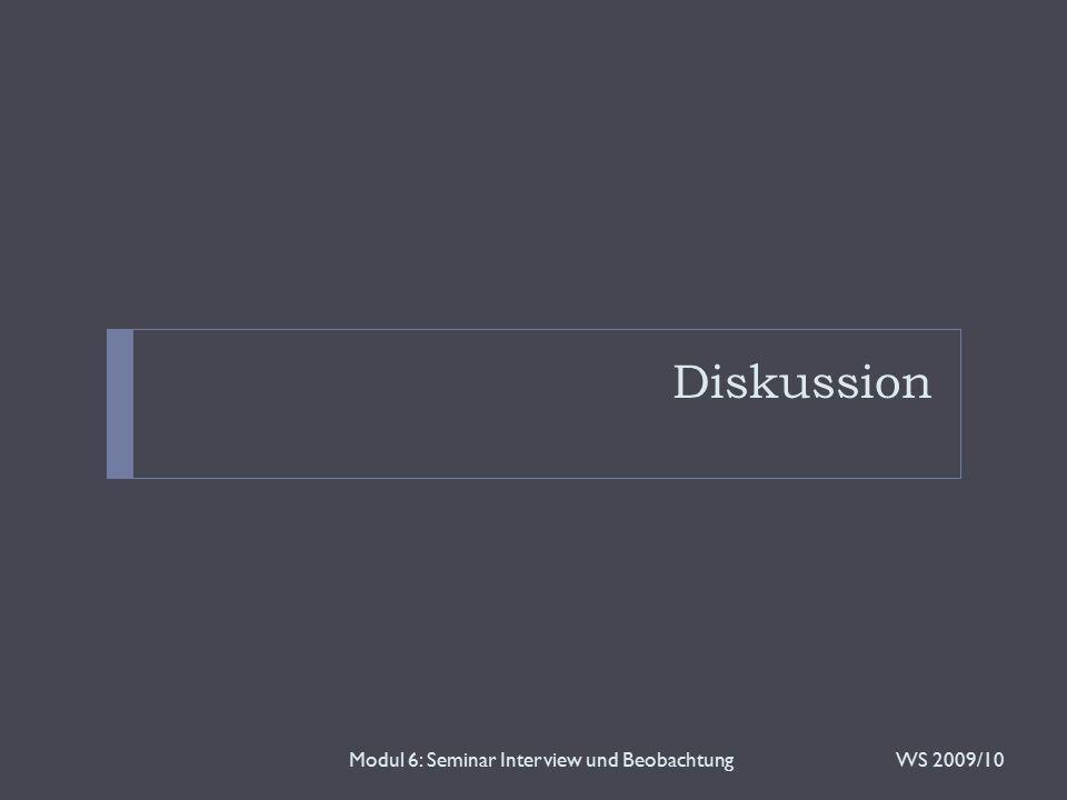 Modul 6: Seminar Interview und Beobachtung