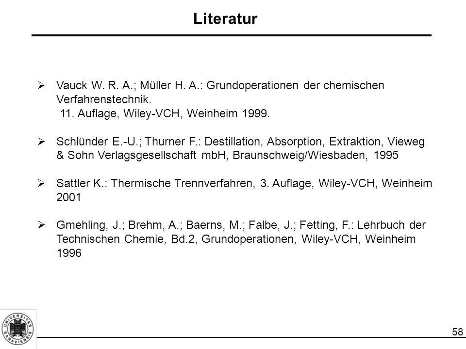 Literatur Vauck W. R. A.; Müller H. A.: Grundoperationen der chemischen Verfahrenstechnik. 11. Auflage, Wiley-VCH, Weinheim 1999.