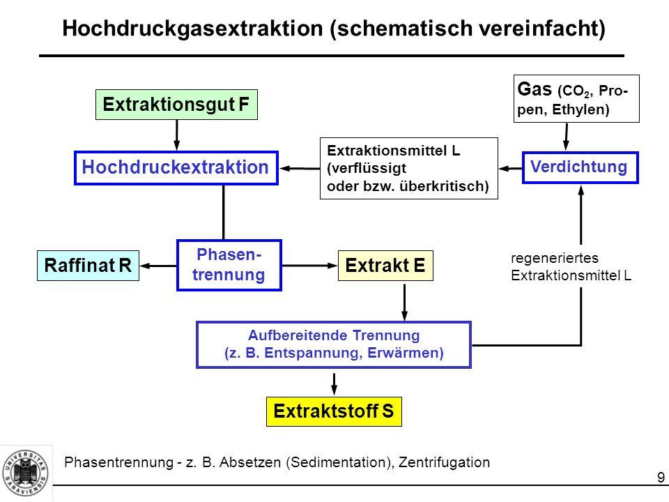 Hochdruckgasextraktion (schematisch vereinfacht)
