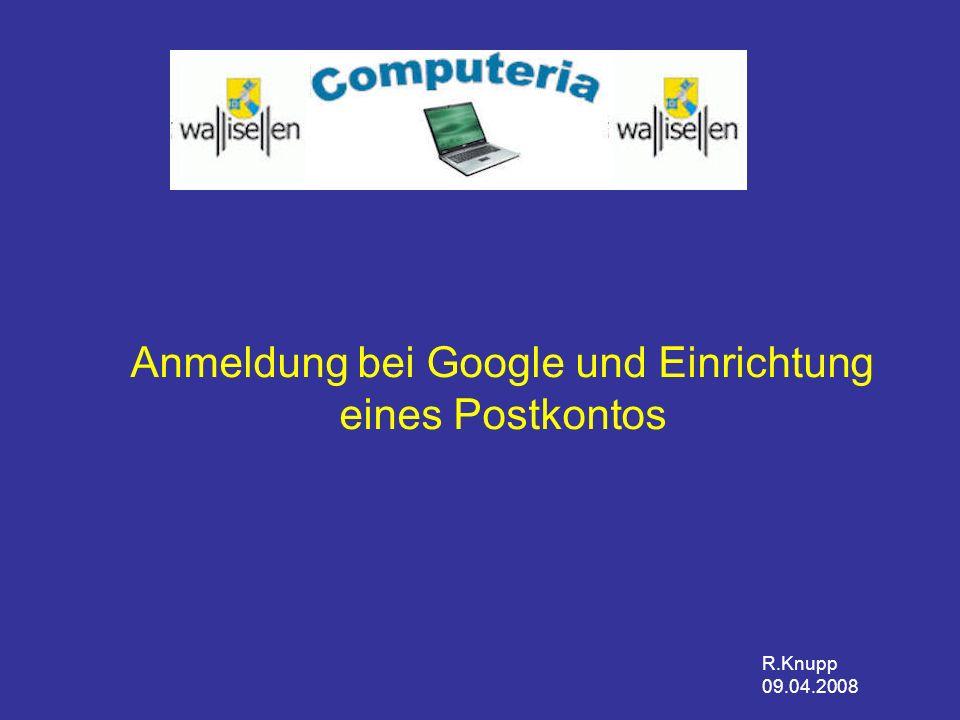 Anmeldung bei Google und Einrichtung eines Postkontos