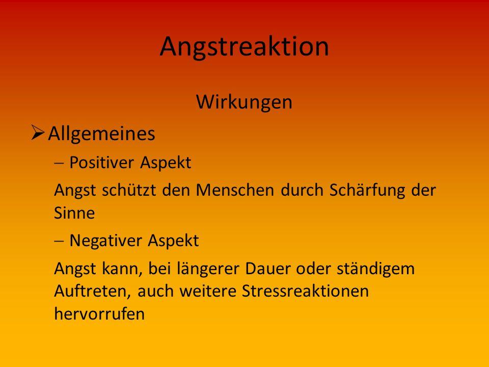 Angstreaktion Wirkungen Allgemeines Positiver Aspekt
