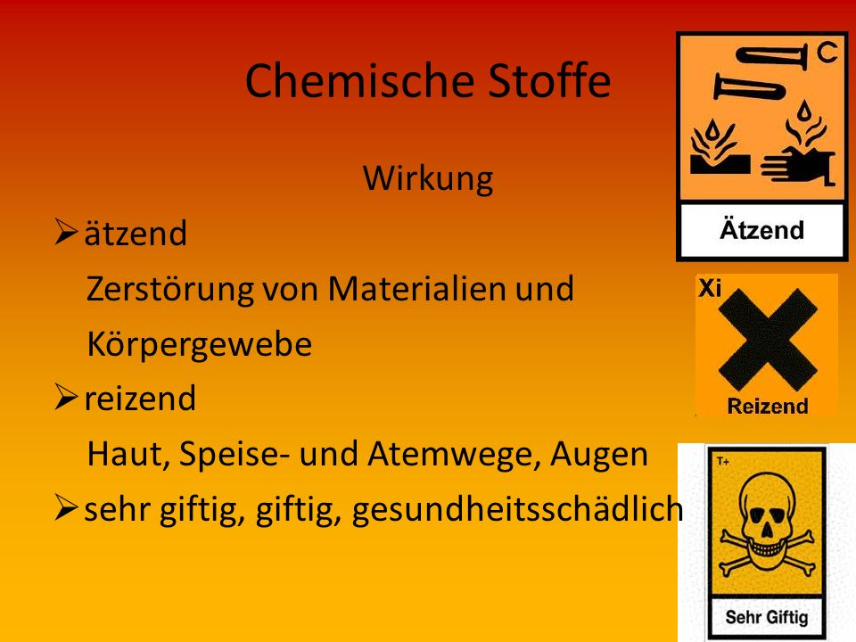 Chemische Stoffe Wirkung ätzend Zerstörung von Materialien und