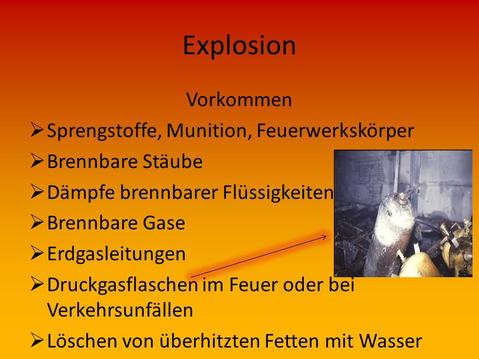 Explosion Vorkommen Sprengstoffe, Munition, Feuerwerkskörper