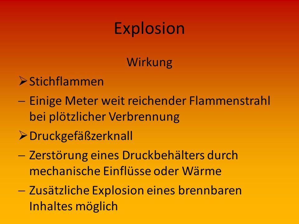 Explosion Wirkung Stichflammen