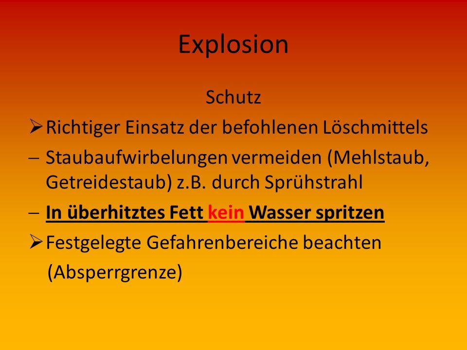 Explosion Schutz Richtiger Einsatz der befohlenen Löschmittels