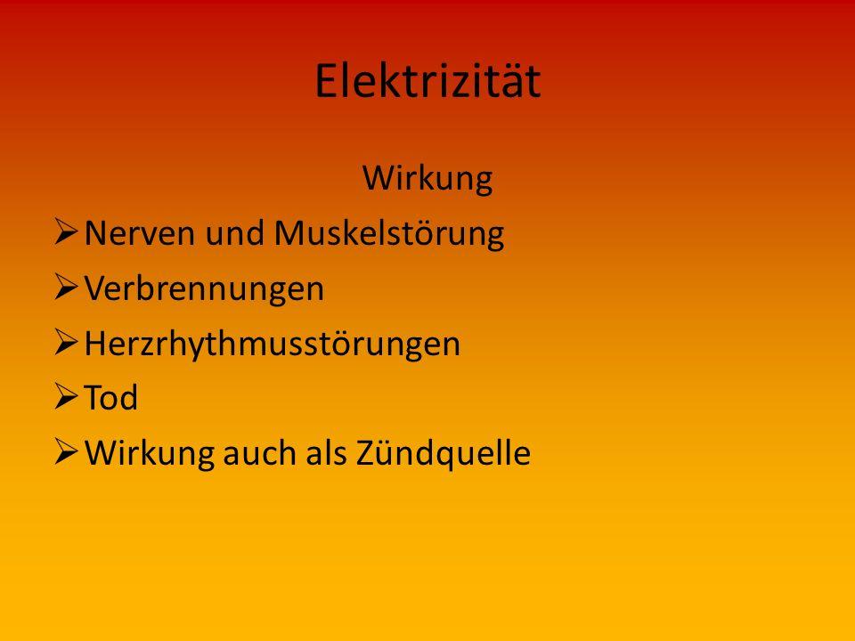 Elektrizität Wirkung Nerven und Muskelstörung Verbrennungen