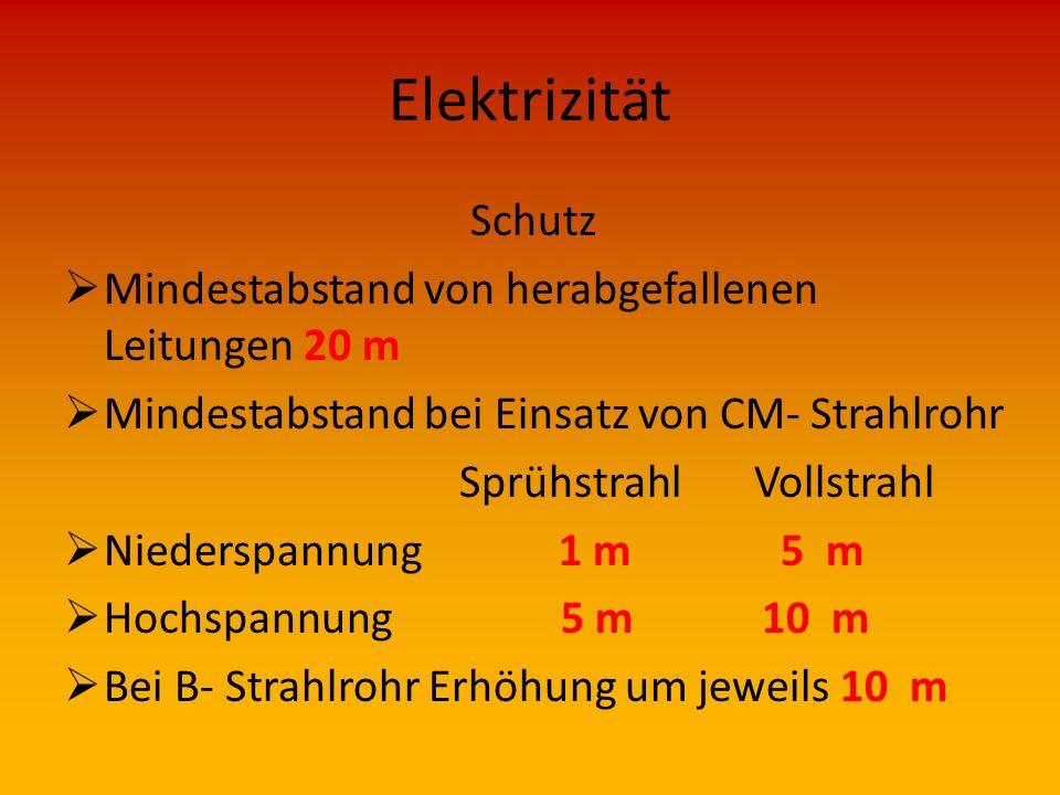 Elektrizität Schutz Mindestabstand von herabgefallenen Leitungen 20 m
