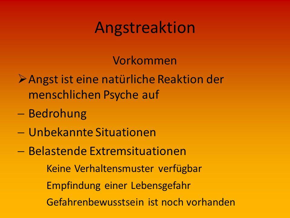 Angstreaktion Vorkommen