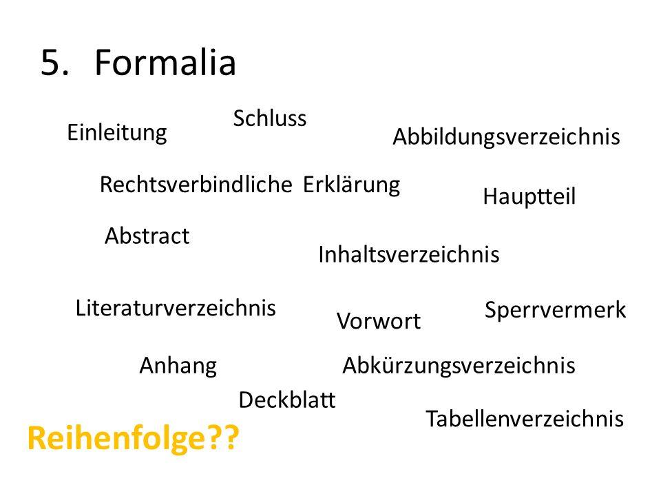 Formalia Reihenfolge Schluss Einleitung Abbildungsverzeichnis