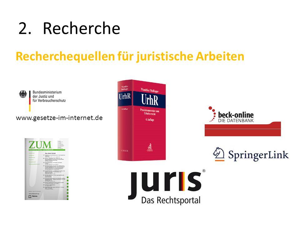Recherche Recherchequellen für juristische Arbeiten