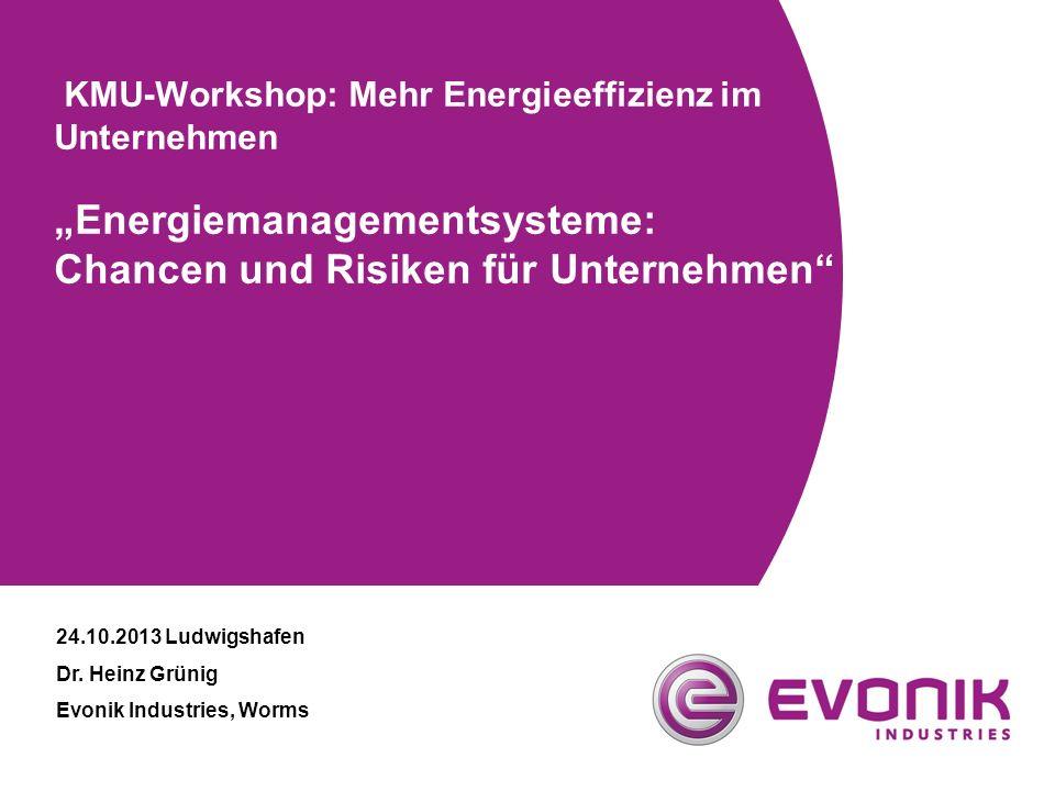 """KMU-Workshop: Mehr Energieeffizienz im Unternehmen """"Energiemanagementsysteme: Chancen und Risiken für Unternehmen"""