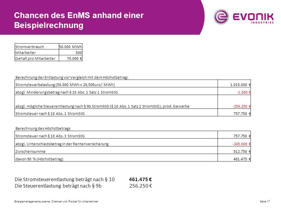 Chancen des EnMS anhand einer Beispielrechnung