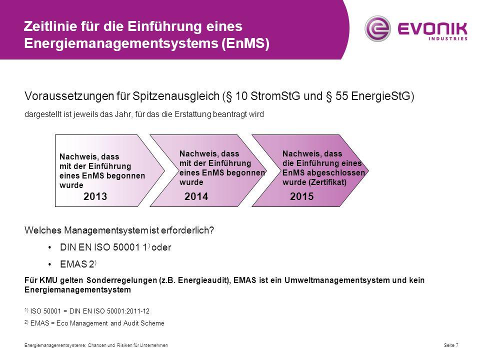 Zeitlinie für die Einführung eines Energiemanagementsystems (EnMS)