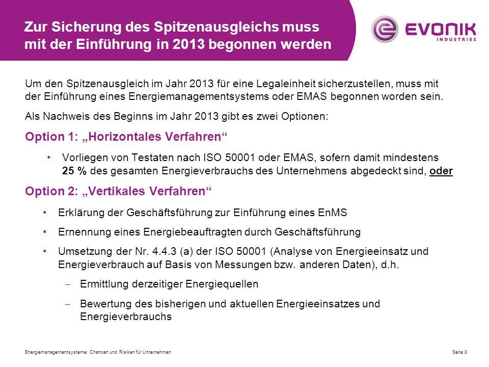 Zur Sicherung des Spitzenausgleichs muss mit der Einführung in 2013 begonnen werden