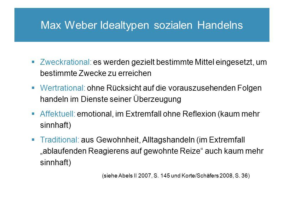 Max Weber Idealtypen sozialen Handelns