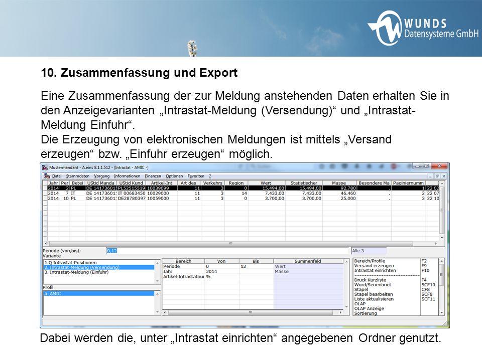 10. Zusammenfassung und Export