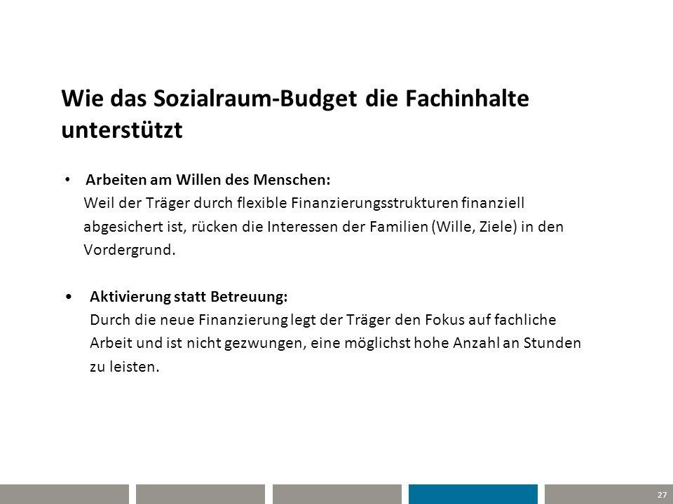 Wie das Sozialraum-Budget die Fachinhalte unterstützt