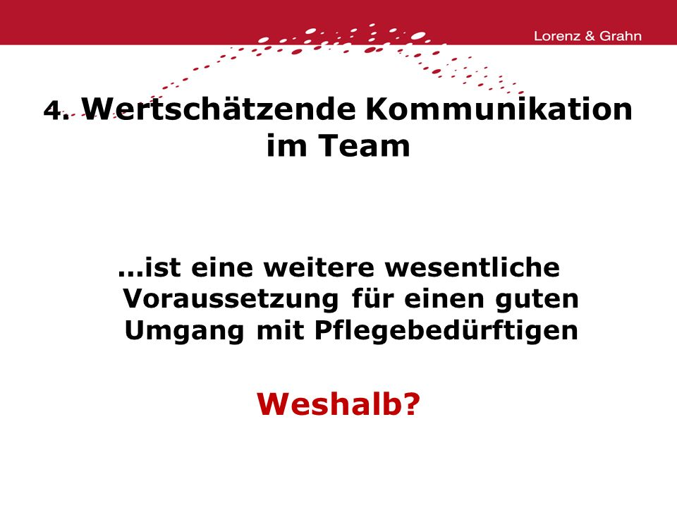4. Wertschätzende Kommunikation im Team
