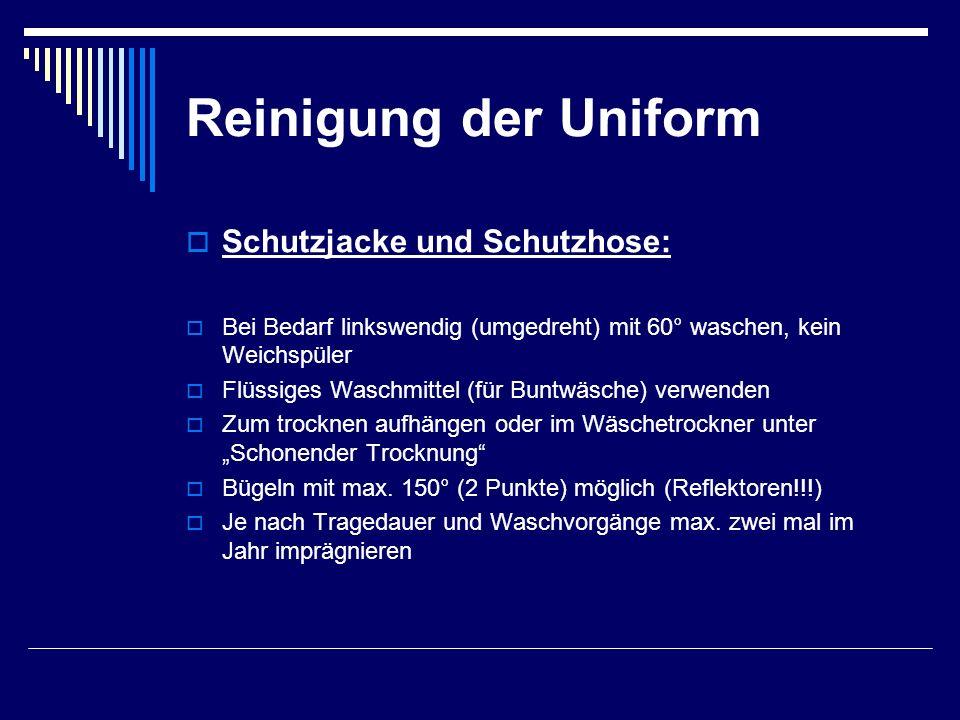 Reinigung der Uniform Schutzjacke und Schutzhose: