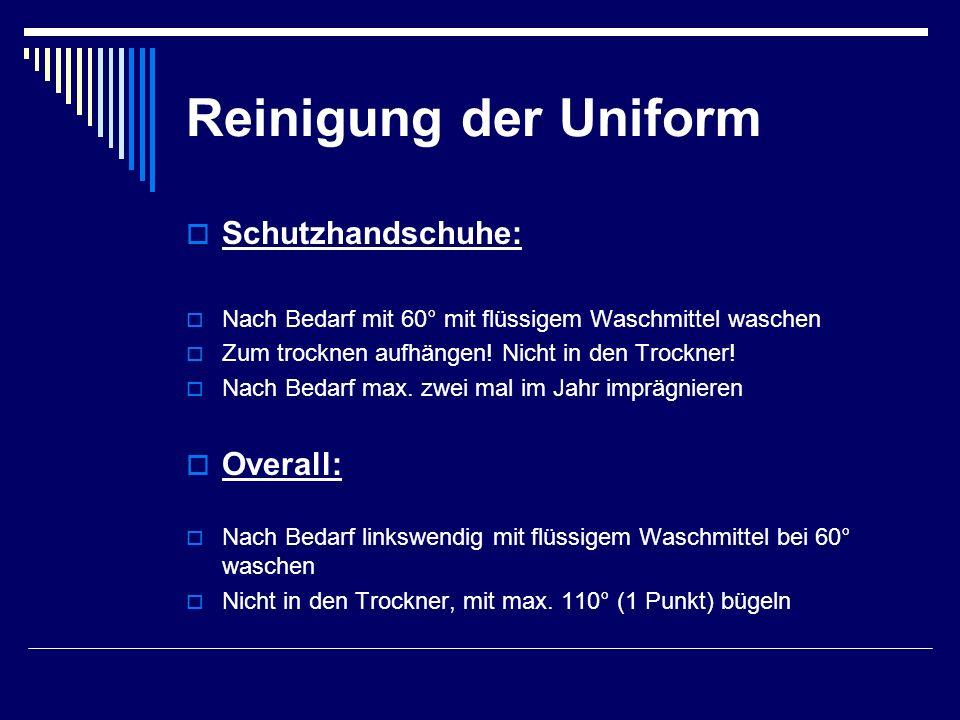 Reinigung der Uniform Schutzhandschuhe: Overall: