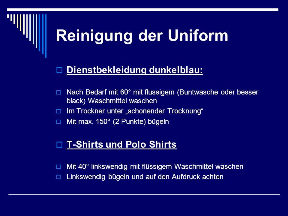 Reinigung der Uniform Dienstbekleidung dunkelblau: