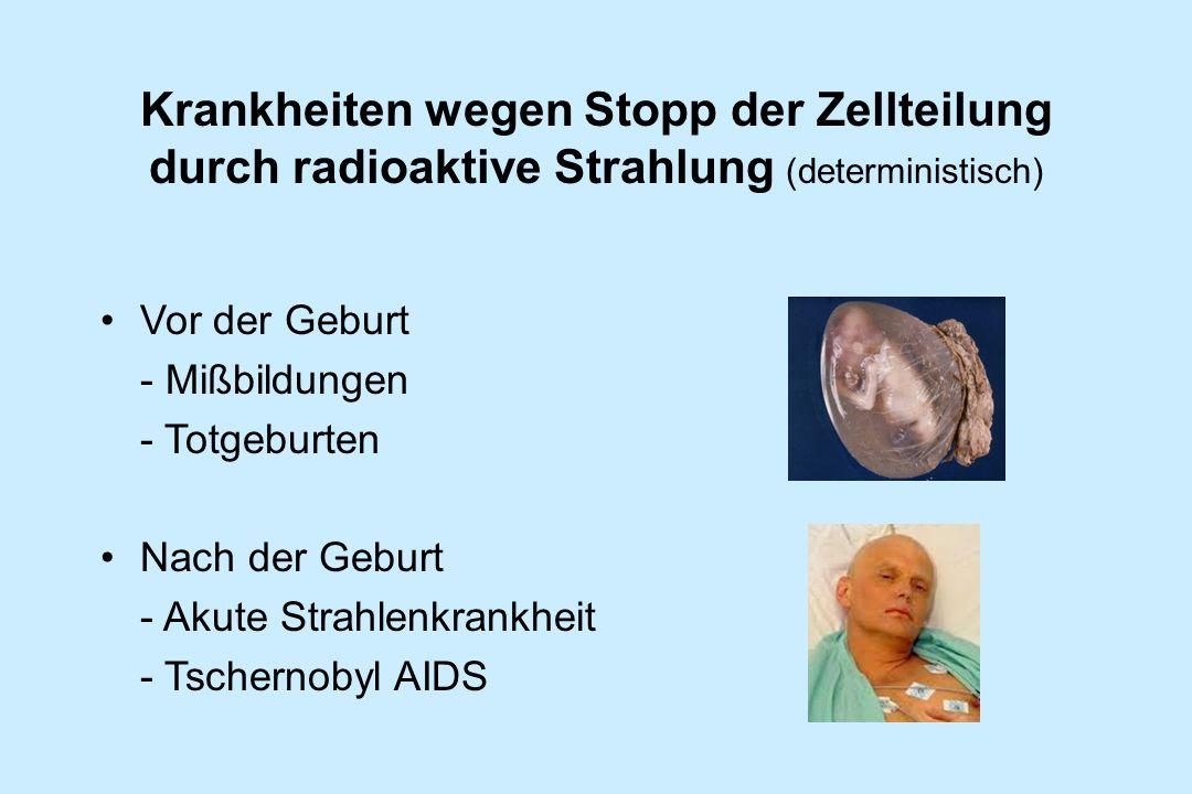 Krankheiten wegen Stopp der Zellteilung durch radioaktive Strahlung (deterministisch)