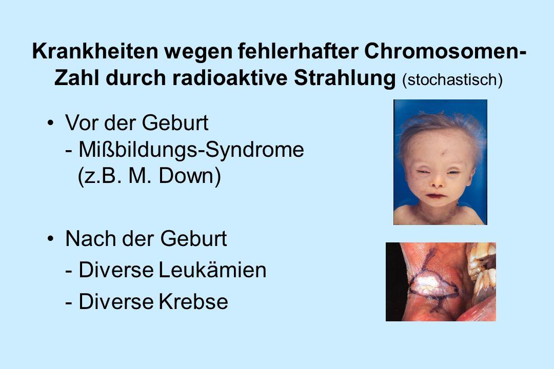 Krankheiten wegen fehlerhafter Chromosomen-Zahl durch radioaktive Strahlung (stochastisch)