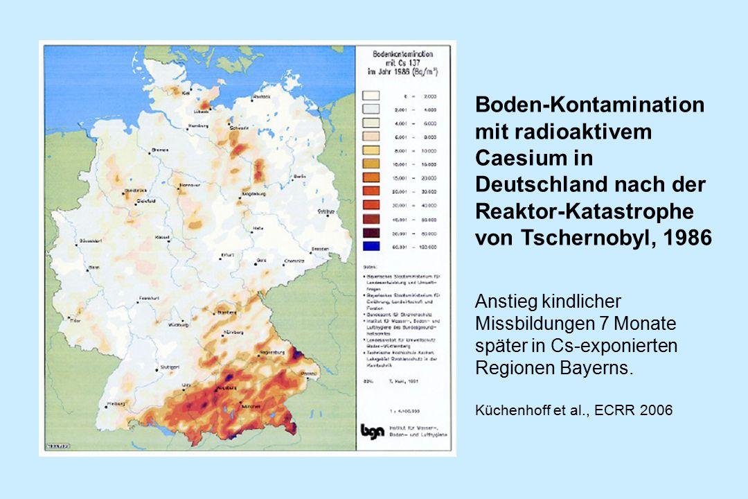 Boden-Kontamination mit radioaktivem Caesium in Deutschland nach der Reaktor-Katastrophe von Tschernobyl, 1986