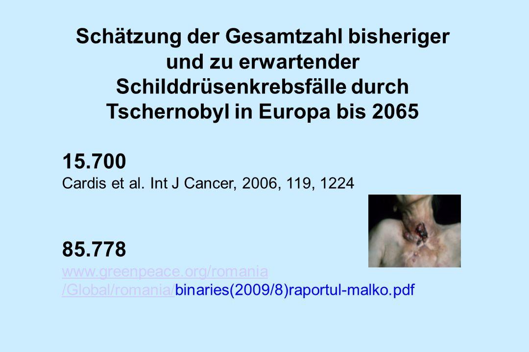 Schätzung der Gesamtzahl bisheriger und zu erwartender Schilddrüsenkrebsfälle durch Tschernobyl in Europa bis 2065