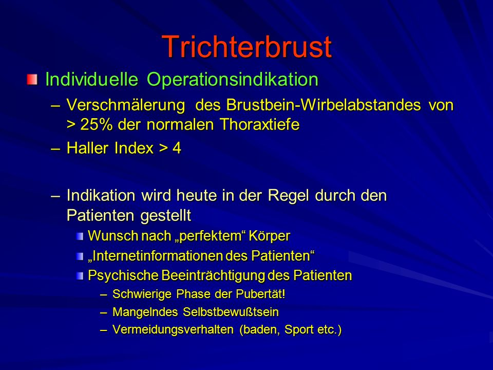 Trichterbrust Individuelle Operationsindikation