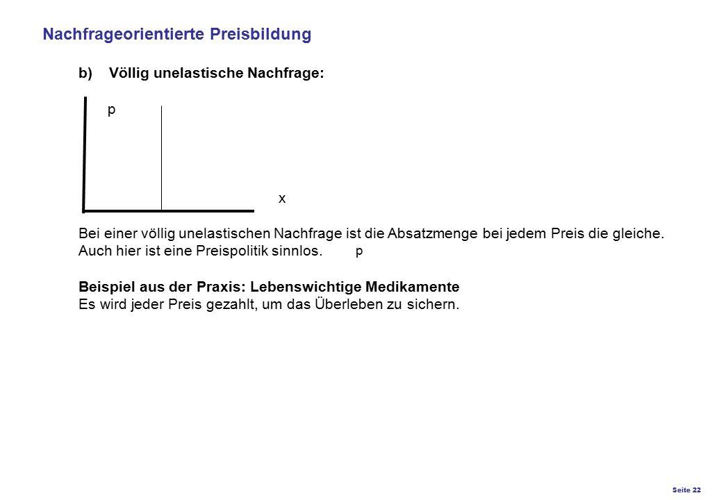 Nachfrageorientierte Preisbildung b) Völlig unelastische Nachfrage:. p