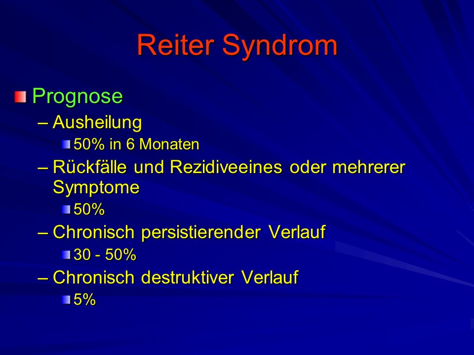 Reiter Syndrom Prognose Ausheilung