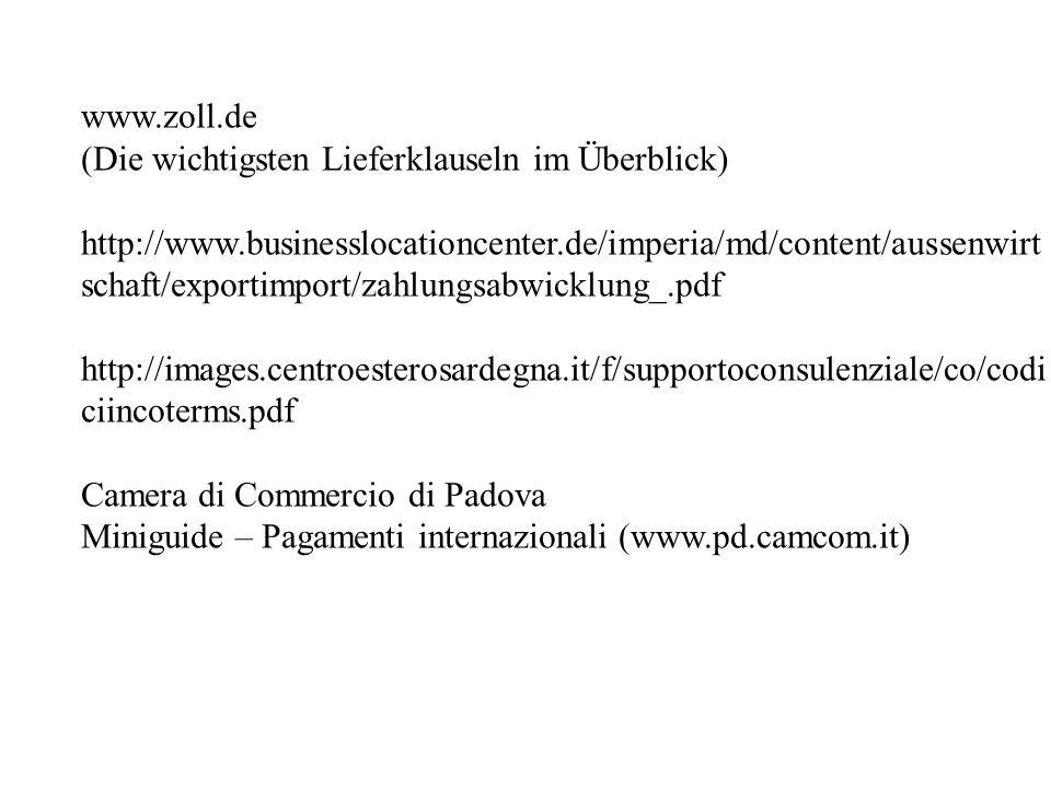 www.zoll.de (Die wichtigsten Lieferklauseln im Überblick)