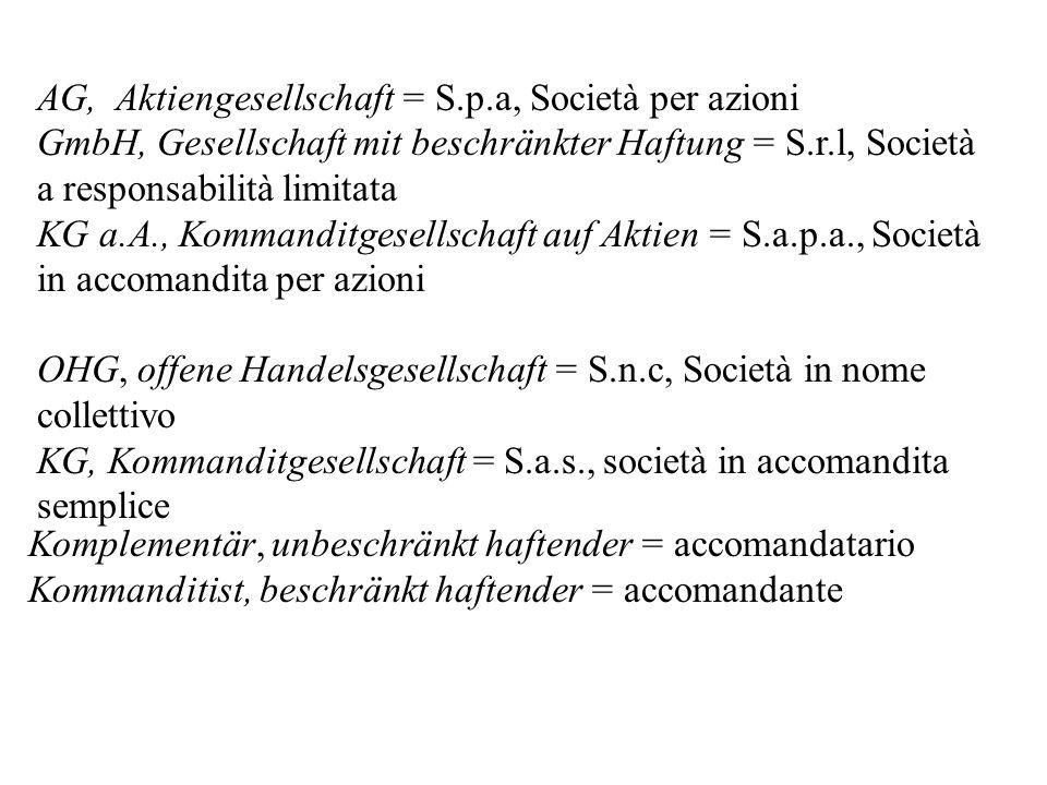 AG, Aktiengesellschaft = S.p.a, Società per azioni