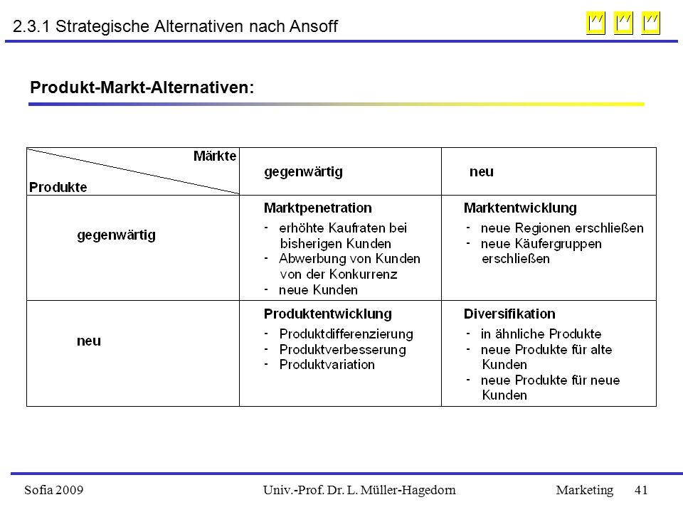 2.3.1 Strategische Alternativen nach Ansoff