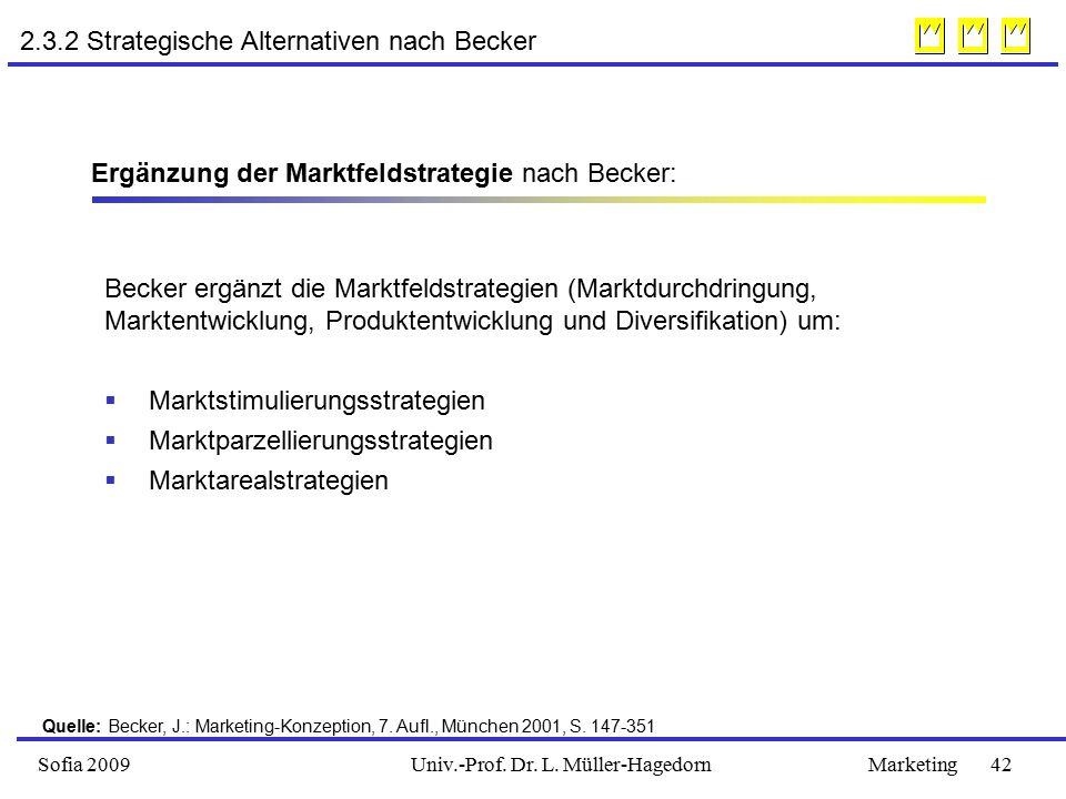 2.3.2 Strategische Alternativen nach Becker